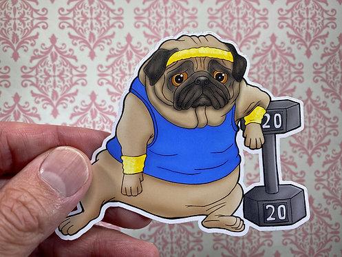 Workout Pug (Die Cut Sticker)