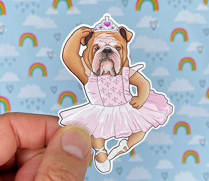 Ballerina Bulldog (Die Cut Sticker)
