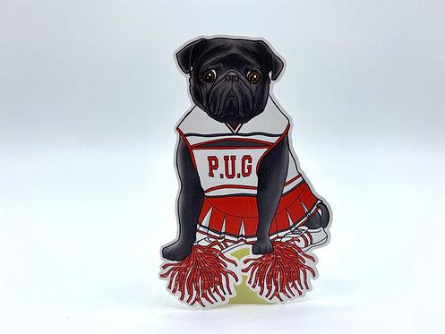Cheerleader Pug (Die Cut Sticker)