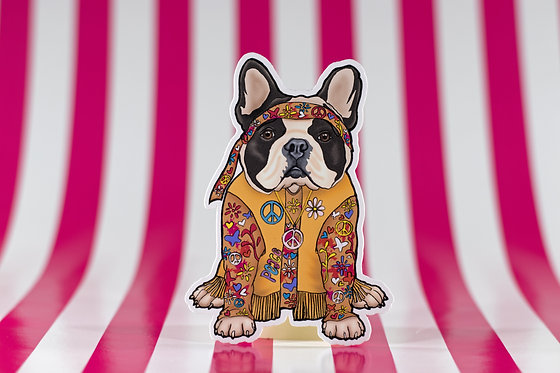 Hippie Bulldog (Die Cut Sticker)
