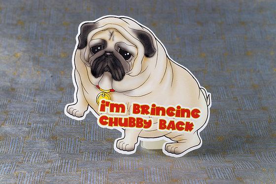 Chubby Back Pug (Die Cut Sticker)