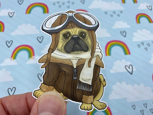 Pilot Pug (Die Cut Sticker)