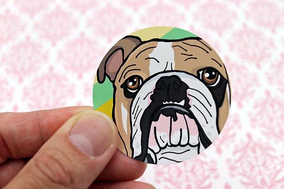 English Bulldog (Round Sticker)