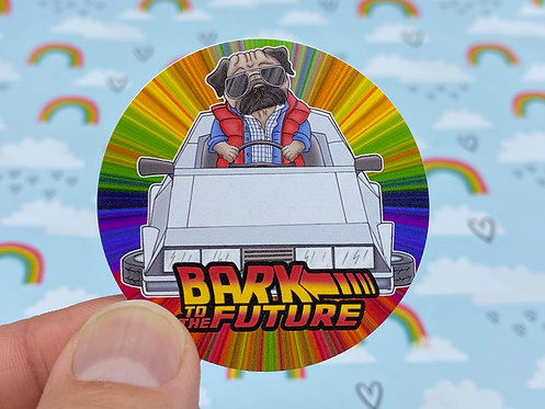 Bark to the Future (Round Sticker)