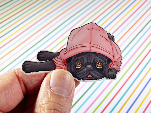 Sleeping Black Pug (Die Cut Sticker)