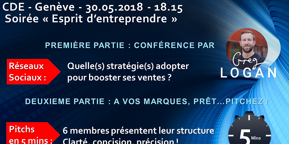 """Soirée """"Esprit d'Entreprendre"""", Conférence : """"Réseaux sociaux : Quelle(s) stratégie(s) adopter pour booster ses ventes"""""""