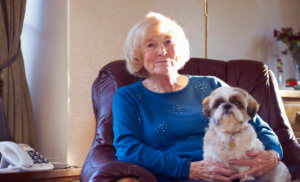 Contact-us-old-lady-on-armchair-with-dog
