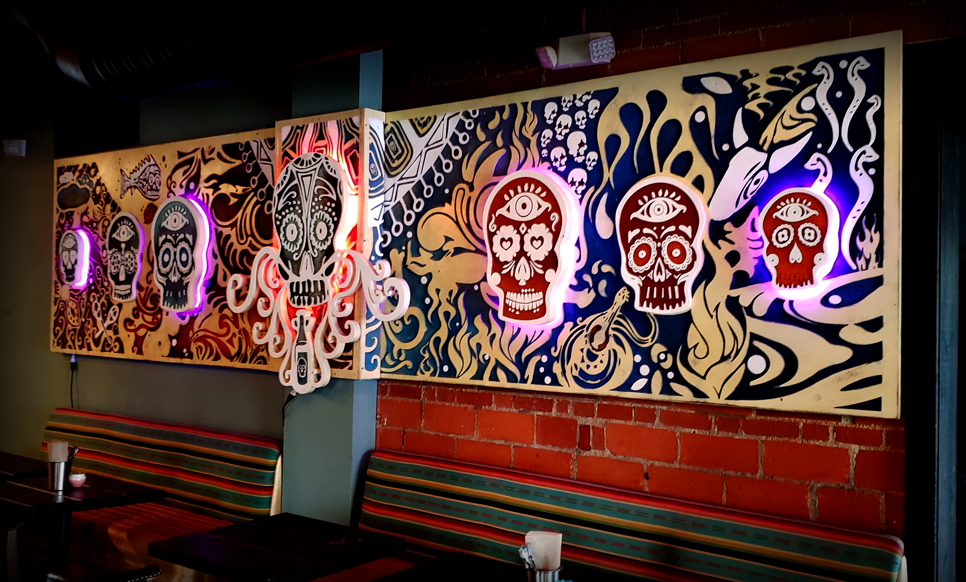 Day Of The Dead 20' Wood cut mural