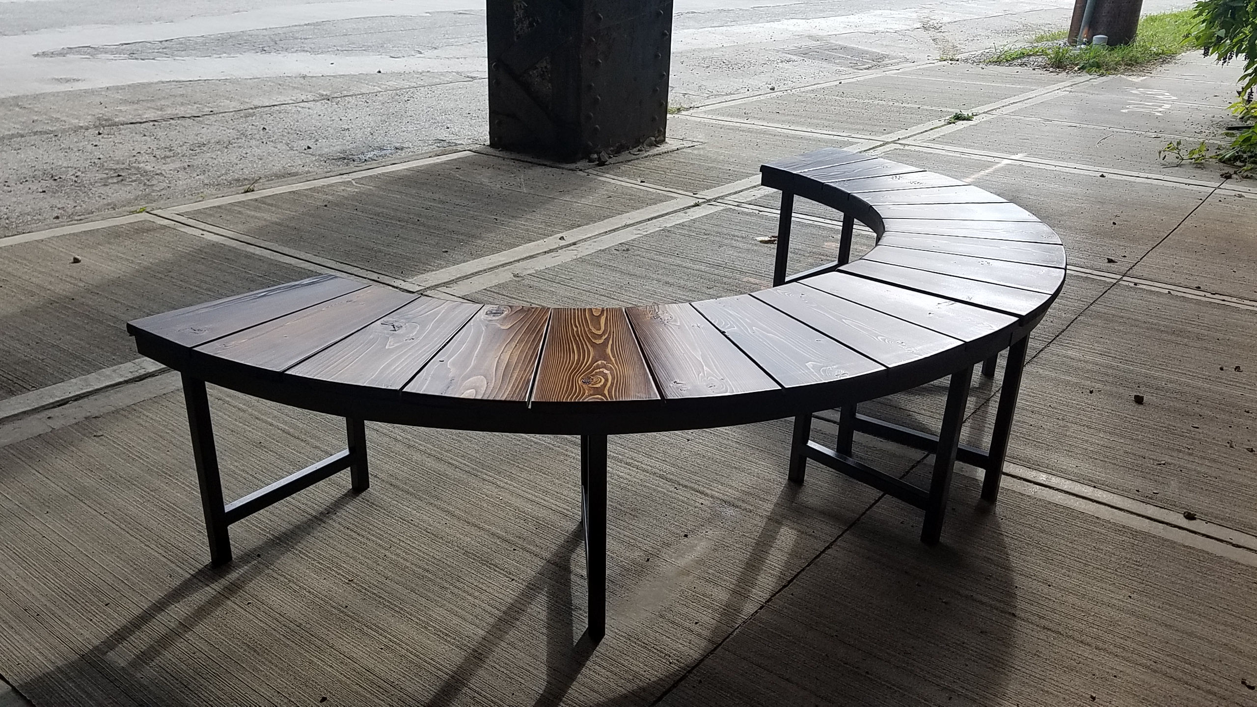 Half round outdoor patio benches