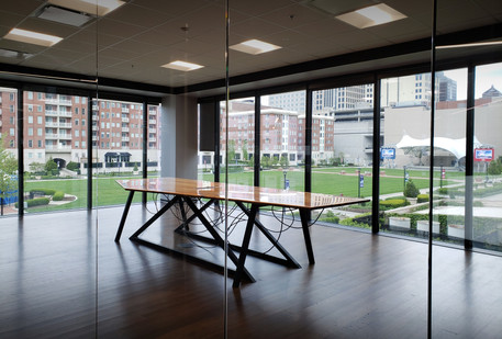 13ft conference room table with absract metal base