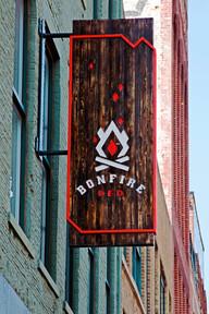 Bonfire Red exterior building sign