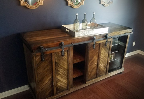 6.5' wine cooler credenza_Sliding track cabinet doors with built-in beer and wine coolers.jpg