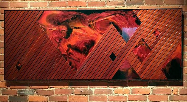 8ftx3.jpg5ft Mahogany slats and poured resin to create an abstraction of logo.jpg