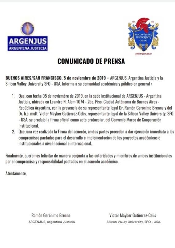 COMUNICADO OFICIAL DE PRENSA ARGENJUS-SI
