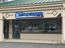New custom shape led sign and window lettering for OC Home Service at their new office in Ocean Pine