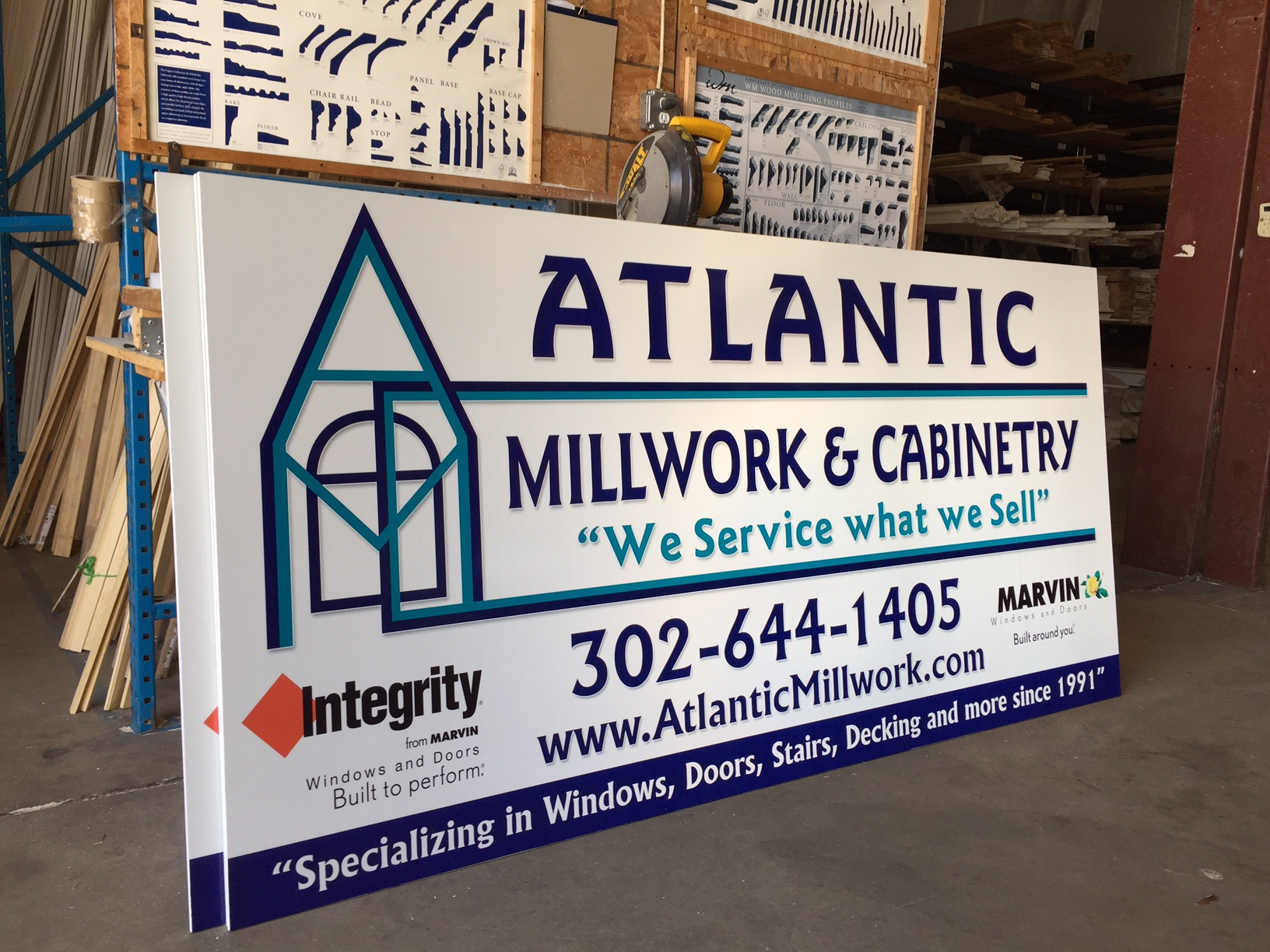 New reflective signs for Atlantic Millwork