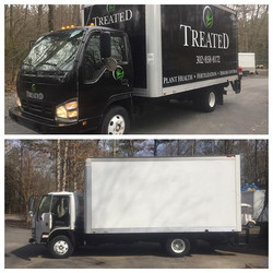 Full color change on this 16' box truck with a little vinyl lettering