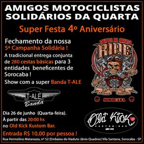 Amigos Motociclistas Solidários da Quarta de Sorocaba - Festa de aniversário de 4 anos