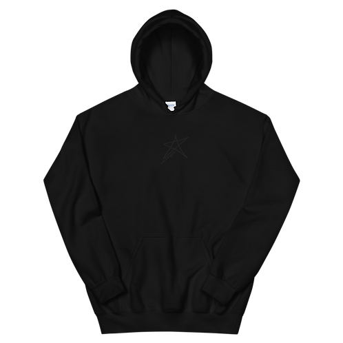 'Cloaked' - Embroidered Logo Hoodie Black