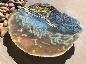 'The Earth' pate de verre bowl sculpture
