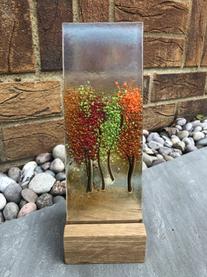 'Autumn Trees' glass art panel