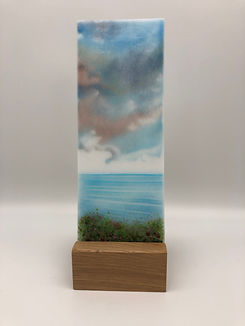 'The Seaside' glass art panel