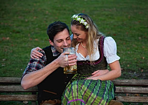 Bavarian Couple drinking Beer