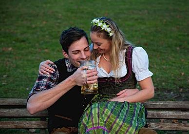 Bavarian Couple drinking Beer