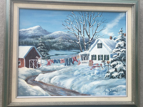 "Winter Wash - (16""x20"") - Framed Original Oil Painting"
