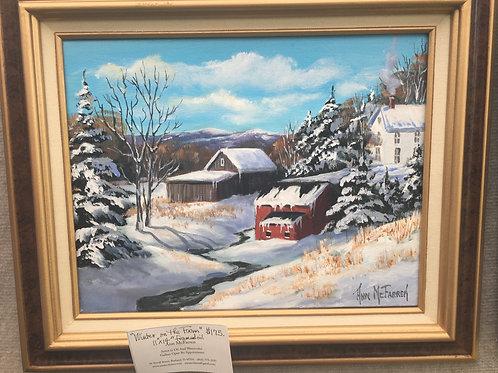 "Winter on the Farm - (11""x14"") - Framed Original Oil Painting"