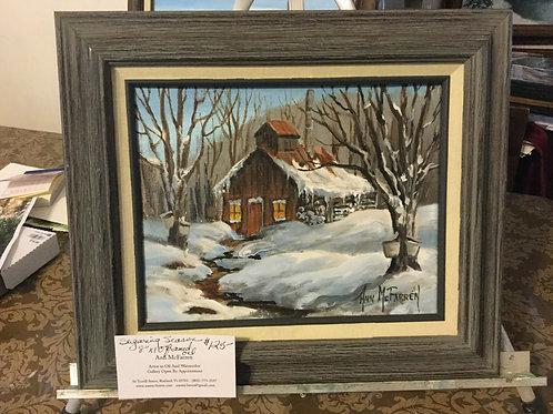 "Sugaring Season - (8""x10"") - Framed Original Oil Painti"