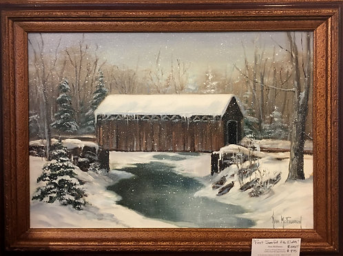 "First Snowfall of Winter - (18""x24"") - Framed Original Oil Painting"