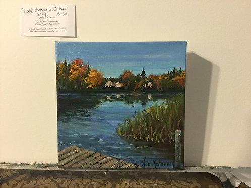 """Lake Hortonia in October - (8""""x8"""") - Original Oil Painting"""