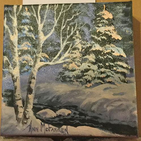 "Winter Wonderland - (6""x6"") - Original Oil Painting"