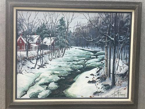 "Mt. Holly Frozen River - (18""x24"") - Framed Original Oil Painting"