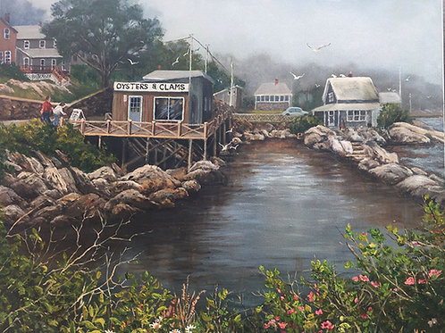 "Oysters and Clams at Georgetown, ME - (30""x40"") - Original Oil Painting"
