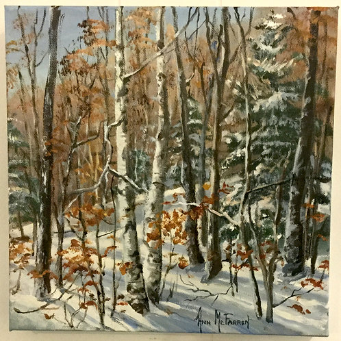 """The Winter Woods - (12""""x12"""") - Original Oil Painting"""