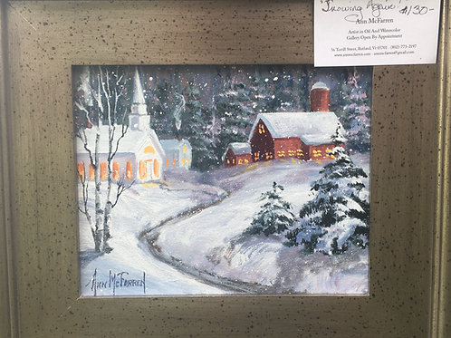 "Snowing Again! - (8""x10"") - Framed Original Oil Painting"