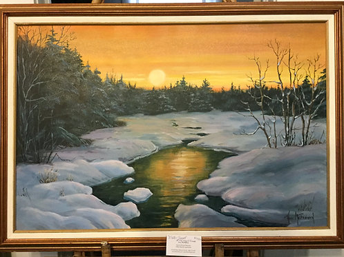 "Winter Sunset - (24""x36"") - Framed Original Oil Painti"