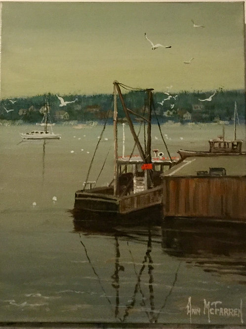 "York Harbor Reflections - (11""x14"") - Original Oil Painting"
