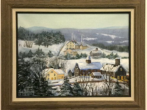 "Winter on the Farm - (12""x16"") - Framed Original Oil Painting"
