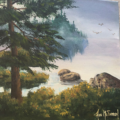 "Foggy Summer Morning - (12""x12"") - Original Oil Painting"