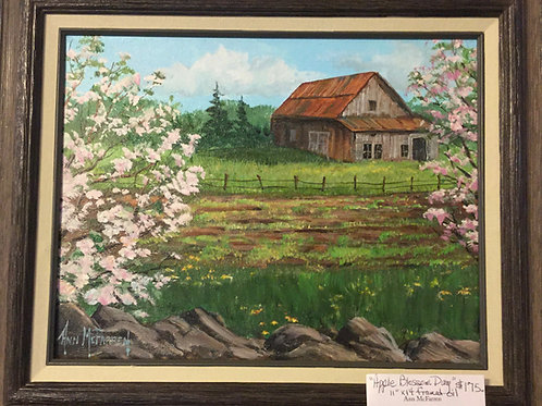 "Apple Blossom Day - (11""x14"") - Framed Original Oil Painti"