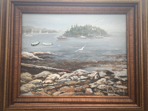"""Foggy Day, Georgetown Maine - (11""""x14"""") - Framed Original Oil Painting"""