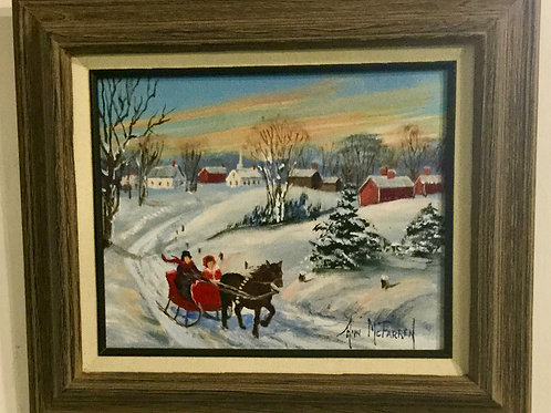 "Sleigh Ride - (8""x10"") - Framed Original Oil Painting"