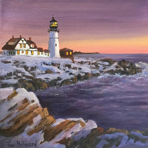 "Portland Headlight at Dusk - (12""x12"") - Original Oil Painting"