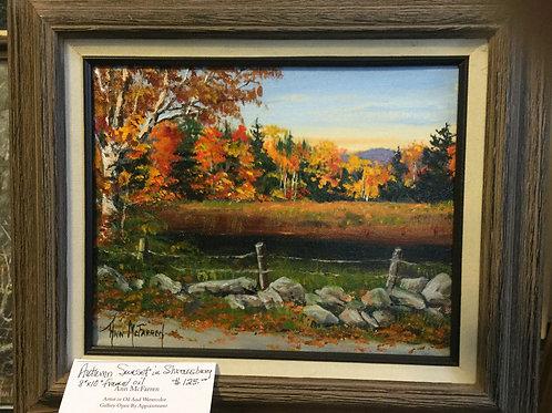 "Autumn Sunset in Shrewsbury - (8""x10"") - Framed Original Oil Painting"