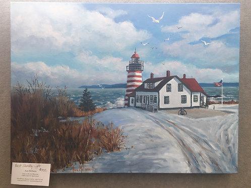 "West Quoddy Light - (18""x24"") - Original Oil Painting"