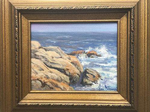 """Rocks and Waves - (8""""x10"""") - Framed Original Oil Painting"""