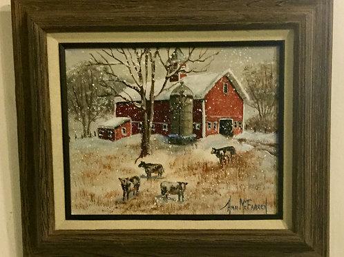 "Winter on the Farm - (8""x10"") - Framed Original Oil Painting"